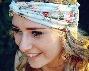 Blue Floral Turban, Twist Jersey Knit, Work Out Headband