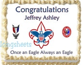 Eagle Scout Boy Scouts Edible icing sheet custom cake  transfer decal  decorations frosting top Court of Honor 3