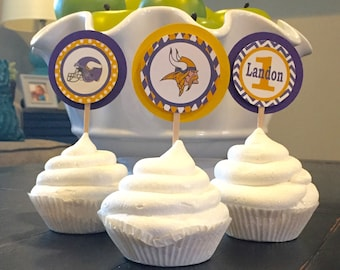 MINNESOTA VIKINGS FOOTBALL Inspired Happy Birthday or Baby Shower Cupcake Toppers Set of 12 {1 Dozen} - Party Packs Available
