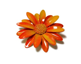 Gerbera daisy brooch pin, large mod 1960s yellow and orange enamel flower floral brooch with textured center, flower power!