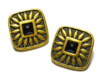 Dressbarn earrings, post earrings antiqued golden bronze squares with black glass centers, on original card, Aztec look