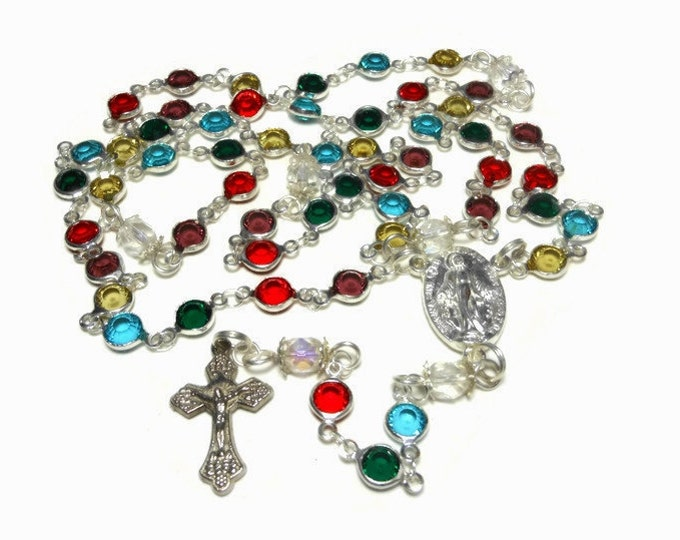 FREE SHIPPING Caged bead rosary, handmade, crystal beads, facet Czech aurora borealis (AB) Paters, silver plated, Crucifix Miraculous Medal