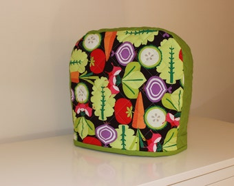 4 and 5 quart Twist-In Bowl - Quilted Mixer Cover for Kitchen-Aid - Red Orange Green Purple Vegetable Print - Wedding Mothers Day