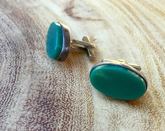 Mens Sterling Cuff Links Vintage Green Stone Cuff Links Gifts for Him Fine Jewelry Mens Accessories