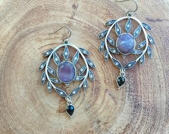 Amethyst Chandelier Earrings leaves dangle Purple Gemstone earrings Artisan Jewelry Gift for Her