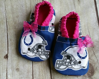 Indianapolis Colts Inspired Cloth Baby Booties pink