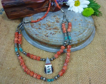 VINTAGE CORAL and TURQUOISE inlaid double strand necklace