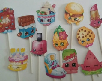12 Shopkins cupcake toppers, party decorations