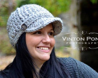 Crochet Newsboy Hat, Women's Hat, Girl's Hat, Women's Accessories, Newsboy Cap, Brimmed Beanie
