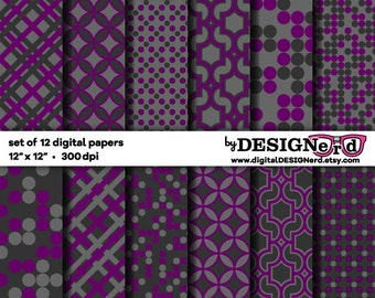 Digital Scrapbook Paper - Gray & Purple Collection