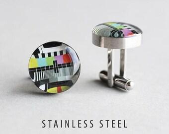 Monoscope cufflinks, Surgical steel cuff link, TV test pattern cufflink, Retro cufflink