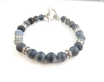 "Grey beaded bracelet   (8"")"