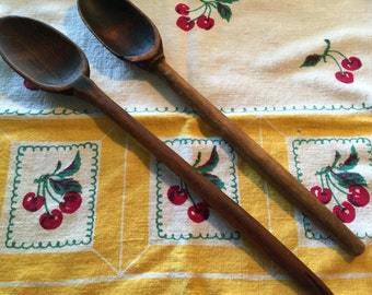 Vintage Primitive Wooden Spoons Set of 2