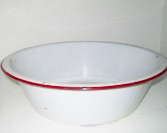 Vintage Enamelware Pan White Red Trim Large Basin Fairy Garden