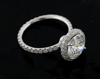 Double Halo Cut Down Micro Pave Set Diamonds Platinum 950 Modern Engagement Ring With 8mm Forever One Moissanite