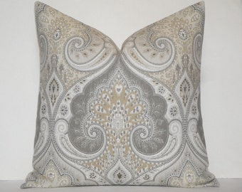 Kravet - Decorative Pillow Cover ~ Grey ~ Tan ~ Accent Pillow ~ Paisley IKAT ~ Latika In Limestone