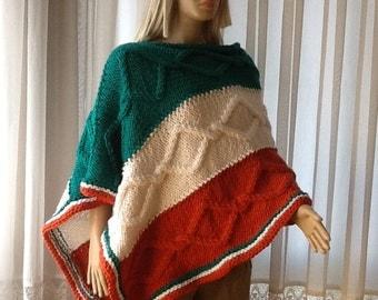 FLAG Poncho - Hand Knitted Poncho / CABLE KNIT Poncho / Cozy Poncho / MultiColor / Thick Poncho / Womens Poncho / Mens Poncho / Custom Order