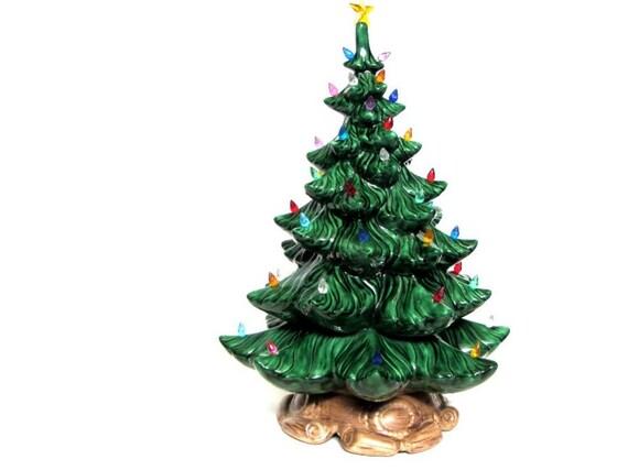 Vintage Large 19 Green Ceramic Lighted Christmas Tree