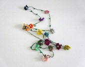 Crochet Flowers Oya Lariet Necklace,spring,summer colors,beaded necklaces,christmas gift,christmas
