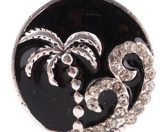 1 PC - 18MM Beach Palm Tree Enamel Rhinestone Silver Tone Charm for Candy Snap Jewelry KC6151 Cc2607