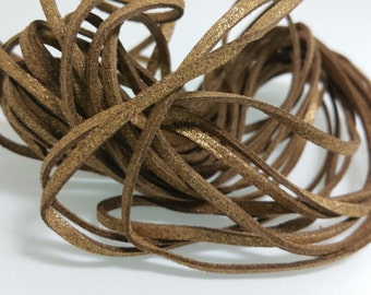 5 YARDS - 15 FEET Metallic Dark Gold Faux Suede Cord Leather Lace Ribbon Soft 3mm x 1.5mm #29