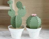 2 3D Paper Cacti Pots