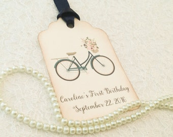 Bicycle Thank You Favor Tags-Bike Birthday Gift Tags-Bicycle Wedding Favor Wish Tags-Set of 12
