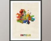 Antigua Watercolor Map, Art Print (2149)