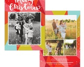 INSTANT DOWNLOAD - Christmas Holiday Card Photoshop template - e1242