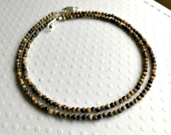 Super Tiny Leopard Skin Jasper Necklace / Choker, Tiny Stone 2mm Leopard Jasper, Jaguar Stone, Slate and Shades of Brown Stone Necklace