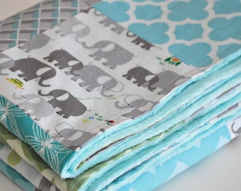 BABY Patchwork BLANKET, Baby/Toddler Patchwork Blanket, Elephants, Dots, Chevron, 38 x 43