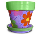 Flower Power Hand Painted Flower Pot - 8-inch