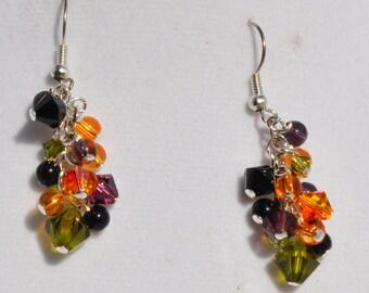Halloween  Chandelier Earrings with Swarovski Crystals in Purple, Black, Orange, and Green