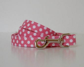 Pink Polka Dot Dog Leash Wedding Accessories Made to Order