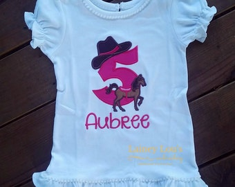 Personalized Cowgirl Birthday Shirt - Horse Birthday Shirt