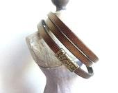 Leather wrap bracelet, Gift for her, Bronze Leather bangle, thin, triple wrap bracelet, brass magnet