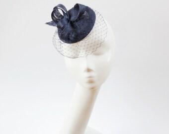 Sinamay Fascinator  Navy BlueTop Hat Cocktail Hat Weddings