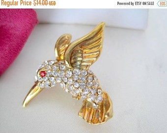 Bird Brooch -  Hummingbird Rhinestone  - Collectible Bird Pin