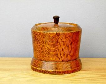 1930s Oak Tea Caddy Biscuit Barrel Cookie Jar Art Deco Container Cannister Storage Kitchen