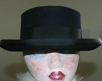 Vintage Black Knox New York Woolf Brothers Steampunk Bowler Porkpie Gangster Pimp Swinger Hipster Hat Size 7