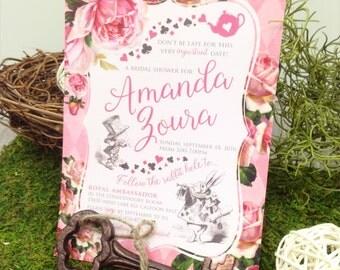 Alice in Wonderland Bridal Shower Invitation - or Birthday Party Invitation