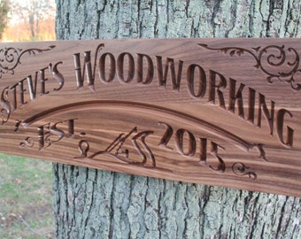 Custom Workshop Sign, Rustic Man Cave Sign, Personalized Man Cave Sign, Benchmark Custom Signs Walnut WS