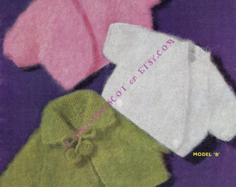 Toddler / Child's Mohair Boleros  3 styles with option for long or short sleeves Age 2 to 4 years - PDF of Vintage Knitting Patterns