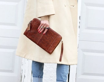 Vintage Boho Chic Clutch Bag 1970s Snakeskin Eel Skin Reptile Skin Purse