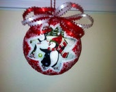 Penguins Handcrafted Quilted Christmas Keeosake Ornament