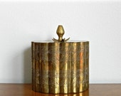 Vintage Brass Box Container Hinged Lid Moroccan Turkish Persian Decor