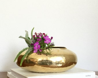 Vintage Brass Planter Vase Gold Metal Hammered Oval Rustic Boho Chic Decor