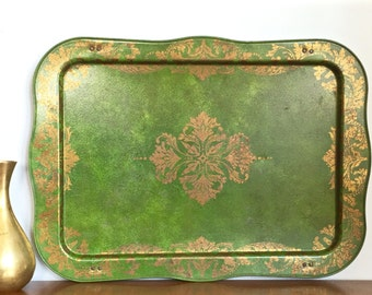 Large Vintage Metal Tray Green Gold Metal Decorative Tray Table Rustic Boho Chic Decor