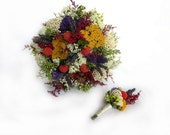Dried Flowers Wedding bouquet - Celebrate Bridal Bouquet with Orange Craspedia - Free Boutonniere! Made to Order!