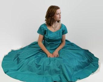 50s 60s Dress Aquamarine Vintage Wedding Prom Circle Skirt Blue